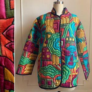 Vintage Multicolor 100%Silk Mandarin Collar/Jacket